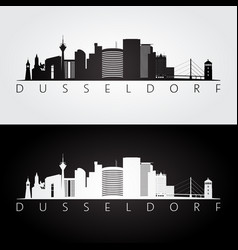 Dusseldorf skyline and landmarks silhouette vector