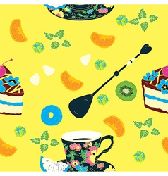 Elegant Cup Cakes Seamless Pattern vector image vector image