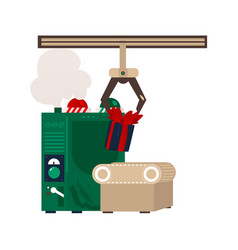 flat christmas presents conveyor machine vector image