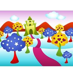 Funky castle landscape vector