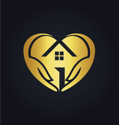 Gold love house care logo vector