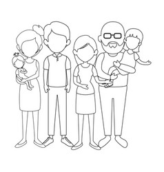 Grandparents with kids icon vector