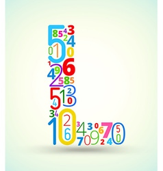 Letter l colored font from numbers vector