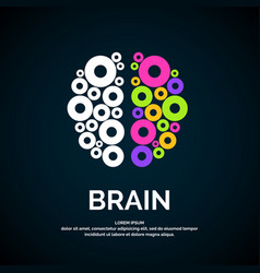 Logo brain color silhouette vector