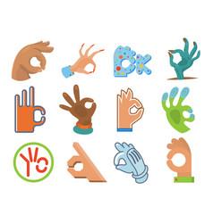 ok hand human sign okey yes agreement signal vector image
