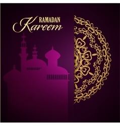 Ramadan Kareem greeting ornate background vector image