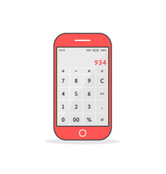 red phone with calculator app vector image