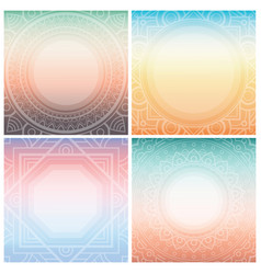 Set of square cards with ornamental frame on vector
