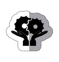 Sticker silhouette of hands holding a gear wheel vector