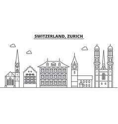 Switzerland zurich architecture line skyline vector