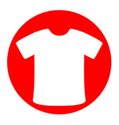 T-shirt sign white icon in red circle on vector