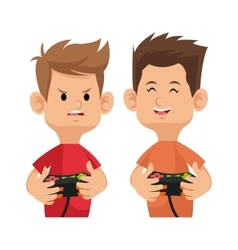 Two gamer happy and angry with game pad controller vector