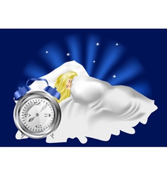 woman in bed and alarm clock vector image vector image