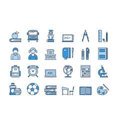 05 blue school education icons set vector image vector image
