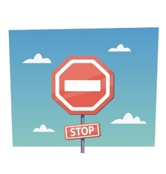 Cartoon red stop sign objects in flat vector