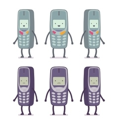 Set of happy and unhappy retro cell phones vector