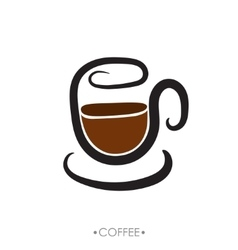 Cup of coffee hand drawn vector