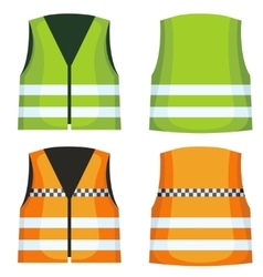 Safety road vest waistcoat with reflective vector image
