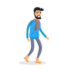 dressed caucasian isolated man with smile runs vector image