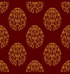seamless pattern from gold floral eggs over red vector image
