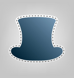 Top hat sign  blue icon with outline for vector