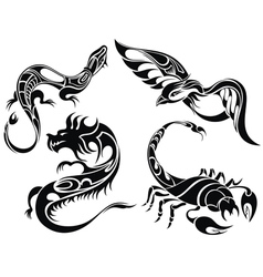 Tattoo animals vector image