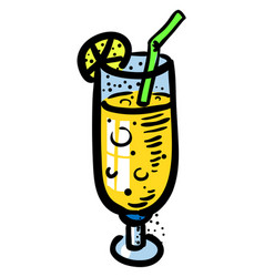 Cartoon image of cocktail icon glass symbol vector
