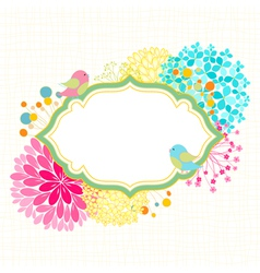 Colorful flower bird garden party invitation vector
