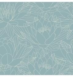 Lotus flowers in seamless pattern vector image