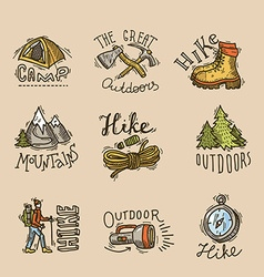 Hike emblems vector