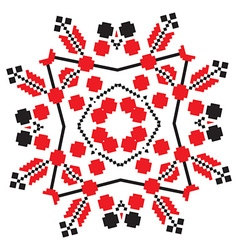 Ethnic ornament mandala geometric patterns in red vector