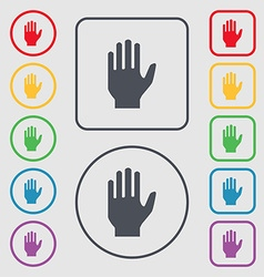 Hand print sign icon stop symbol symbols on the vector