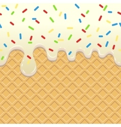 Flowing ice cream on waffle vector