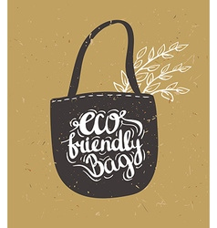 Eco bag with leaves Hipster Vintage Stylized vector image