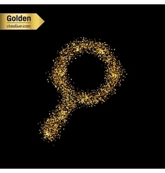 Gold glitter icon of magnifier isolated on vector
