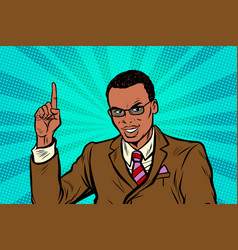 african businessman pointing finger up vector image vector image