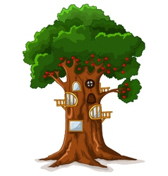 Apple tree house cartoon vector