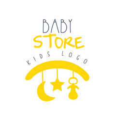 Baby store kids logo colorful hand drawn vector