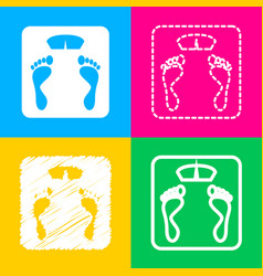 Bathroom scale sign four styles of icon on four vector