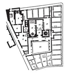 Baths of pompeii the ground plan of the baths vector
