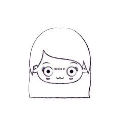 Blurred thin silhouette of kawaii head of cute vector