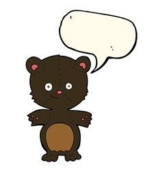 cartoon happy black bear with speech bubble vector image