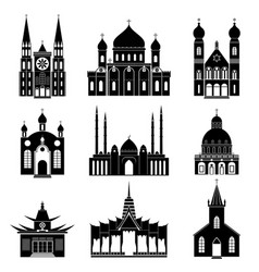 Cartoon silhouette black churches and temples icon vector