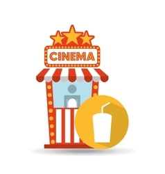 cinema movie ticket office cup soda graphic vector image