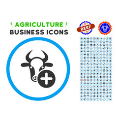 Cow add rounded icon with set vector