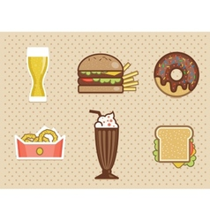 fast food icons set high detailed color vector image