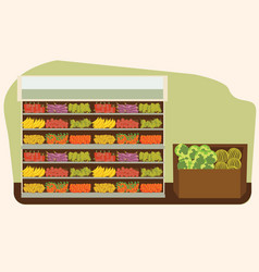 fruit and vegetables shelf with fresh healthy food vector image