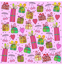 Gifts on a pink background vector