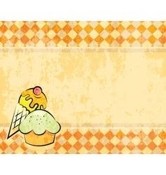 grunge checkered background with dessert vector image