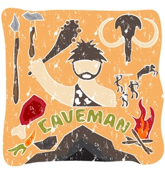 Grunge poster of paleo food and caveman theme vector
